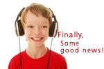 Image: Boy excited by some tunes.